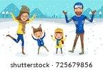 winter family snow having fun.... | Shutterstock .eps vector #725679856