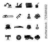 timber industry icons set.... | Shutterstock .eps vector #725684602