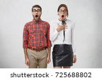 excited scared nervous unshaven ... | Shutterstock . vector #725688802