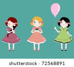 Three Cute Girls Holding A...