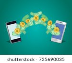 dollars and coins money... | Shutterstock .eps vector #725690035
