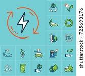 flat color renewable energy... | Shutterstock .eps vector #725693176