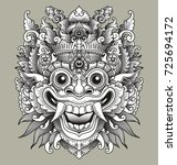 balinese barong traditional mask | Shutterstock .eps vector #725694172