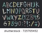 hand drawn wax crayon font.... | Shutterstock .eps vector #725705452