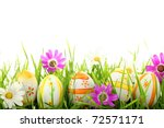 row of easter eggs with daisy... | Shutterstock . vector #72571171