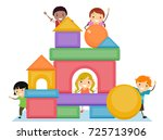illustration of stickman kids... | Shutterstock .eps vector #725713906
