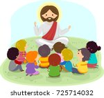 illustration of stickman kids... | Shutterstock .eps vector #725714032