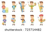 little caucasian boy set. boy... | Shutterstock .eps vector #725714482