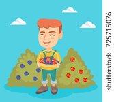 caucasian boy holding the...   Shutterstock .eps vector #725715076