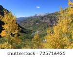 Turning Aspens over Telluride`s Box Canyon, Western Colorado