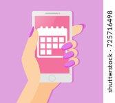 an app of a woman's period...   Shutterstock .eps vector #725716498