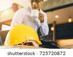 yellow hard safety helmet hat...   Shutterstock . vector #725720872