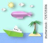 paper origami airship flies... | Shutterstock .eps vector #725725306