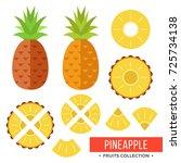 pineapple. whole pineapple ... | Shutterstock .eps vector #725734138