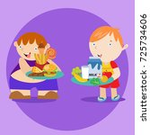 fat and fit kid poster campaign.... | Shutterstock .eps vector #725734606