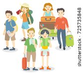 collection of travelling people | Shutterstock .eps vector #725735848