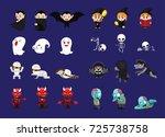 halloween character three poses ... | Shutterstock .eps vector #725738758