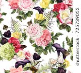 seamless floral pattern with... | Shutterstock . vector #725739052