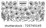 set of isolated poppy in 42... | Shutterstock .eps vector #725745145
