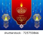 happy diwali festival card with ... | Shutterstock .eps vector #725753866