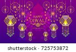 happy diwali festival card with ... | Shutterstock .eps vector #725753872