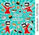 vector sushi stickers | Shutterstock .eps vector #725755138