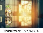 plant growing out of coins with ... | Shutterstock . vector #725761918