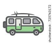surfer van filled outline icon  ... | Shutterstock .eps vector #725763172