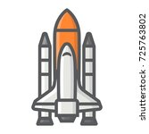 space shuttle filled outline... | Shutterstock .eps vector #725763802