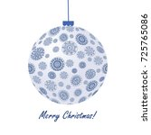 blue christmas ball with doodle ...   Shutterstock . vector #725765086