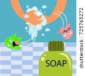 wash your hand for children... | Shutterstock .eps vector #725765272