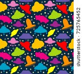 ufo colorful seamless pattern ...   Shutterstock .eps vector #725765452