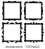 antique black ornate frames set - stock vector