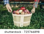 man's and kid's hands hold a... | Shutterstock . vector #725766898