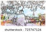 watercolor sketch of national... | Shutterstock .eps vector #725767126