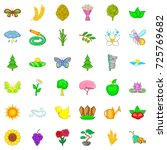 flower icons set. cartoon style ... | Shutterstock .eps vector #725769682