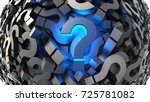 glowing blue question mark with ... | Shutterstock . vector #725781082