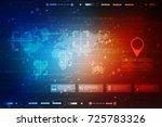 2d illustration world map... | Shutterstock . vector #725783326