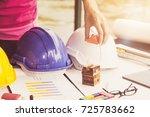 industry work engineer hat on... | Shutterstock . vector #725783662