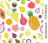 exotica tropical fruit seamless ... | Shutterstock .eps vector #725784232