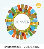 denver skyline with color... | Shutterstock . vector #725784502
