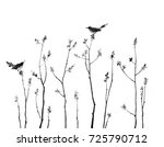 small trees and birds sitting... | Shutterstock . vector #725790712