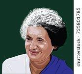 indira gandhi was an indian... | Shutterstock .eps vector #725801785
