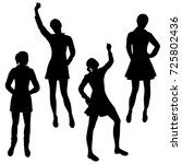 vector silhouettes of girls... | Shutterstock .eps vector #725802436