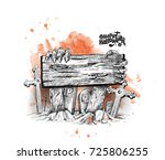scary halloween background with ... | Shutterstock .eps vector #725806255