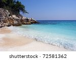Beautiful beach in Northern Greece - stock photo