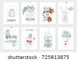 collection of 8 cute winter... | Shutterstock .eps vector #725813875