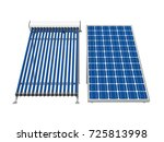solar panel and solar heat pipe ... | Shutterstock . vector #725813998