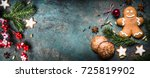 christmas background with... | Shutterstock . vector #725819902