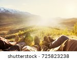 five friends having rest on... | Shutterstock . vector #725823238